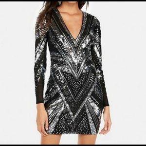 Express Sequin Deep V Neck Dress Size Medium